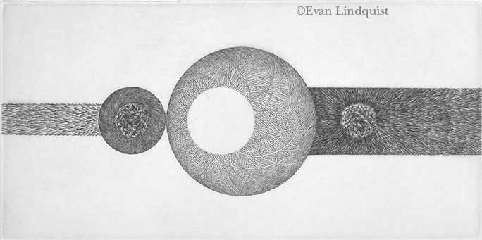 Evan Lindquist artist-printmaker, To EC: Horizons, copperplate engraving, string theories