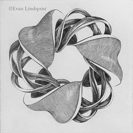 Evan Lindquist artist-printmaker, Contemplation: Twist of Fate, copperplate engraving, string theories