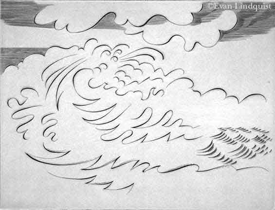 Evan Lindquist artist-printmaker, Adventure with EL: Whitewater Rapids, copperplate engraving, waves