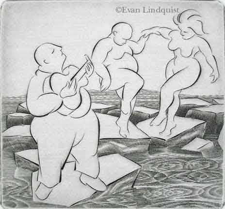 Evan Lindquist artist-printmaker, Ice Dancers, copperplate engraving, guitar player