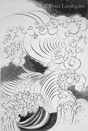 Evan Lindquist artist-printmaker, Raging Waters, copperplate engraving, storm and stress