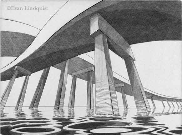 Evan Lindquist artist-printmaker, Scenic Route, Southeast, copperplate engraving, labyrinth at sea