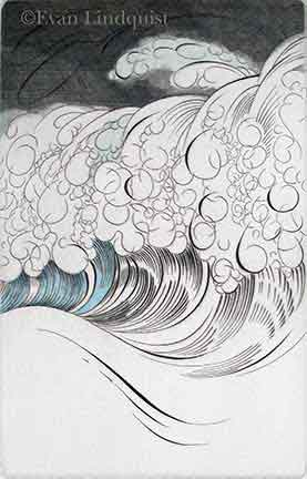 Evan Lindquist artist-printmaker, Storm at Sea, copperplate engraving with relief color, waves