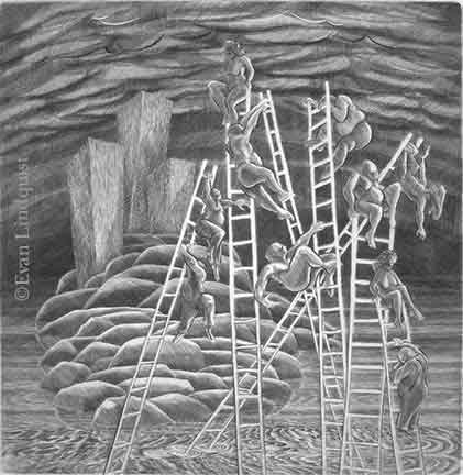 Evan Lindquist artist-printmaker, Success Fantasy, copperplate engraving, ladder climbing