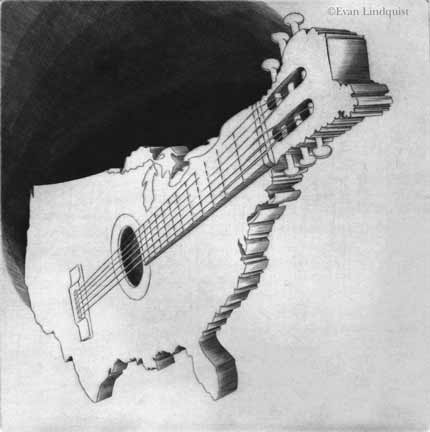 Evan Lindquist artist-printmaker, Guitar America, 1999, copperplate engraving, commissioned for presentation