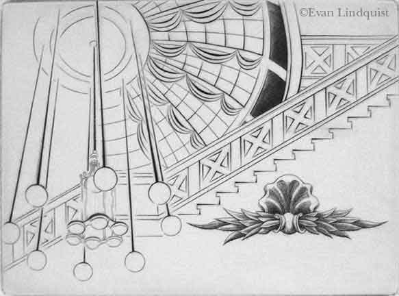 Evan Lindquist, Dreams and Memories I, copperplate engraving, commissioned for presentation
