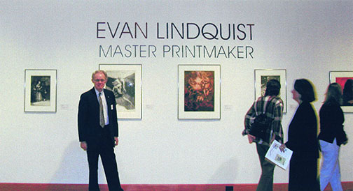 Evan Lindquist Master Printmaker, opening reception at The Arkansas Arts Center, Little Rock, September 27 - November 10, 2002