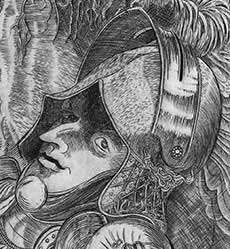 Evan Lindquist artist-printmaker. Detail from Knight, Bird and Burin, copperplate engraving