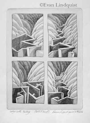 Evan Lindquist artist-printmaker, Labyrinth Valley, copperplate engraving, labyrinth image