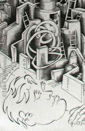 Evan Lindquist artist-printmaker, Dream I, copperplate engraving, labyrinth image