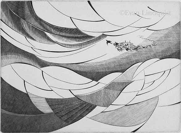 Evan Lindquist artist-printmaker, Journey, burin engraving on copper plate, labyrinth image
