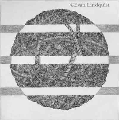 Evan Lindquist artist-printmaker, Thought V, copperplate engraving, labyrinth image
