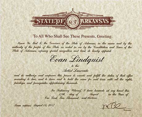 Evan Lindquist, Artist Laureate for the State of Arkansas, award 2013