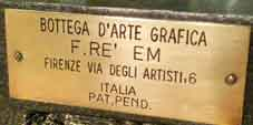Etching press name plate. BOTTEGA D'ARTE GRAFICA, F.RE' EM, FIRENZE VIA DEGLI ARTISTI,6, ITALIOF.Re'em