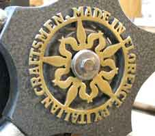 Rosette on etching press made by Bottega d'Arte Grafica, F.Re'em, Firenze via degli Artisti, 6, designed by Andrew Rush